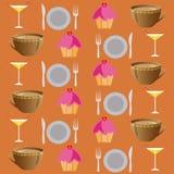 Tło ustawiający napoje i jedzenie na brawn Obraz Royalty Free