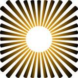 Tło w postaci żółtego słońca z promieniami royalty ilustracja
