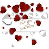 Tło walentynek dzień z papierowymi sercami Fotografia Royalty Free