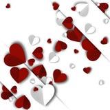 Tło walentynek dzień z papierowymi sercami Obraz Stock