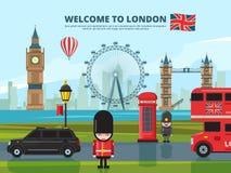 Tło wektorowa ilustracja z London miastowym krajobrazem Anglia i uk punkty zwrotni ilustracji