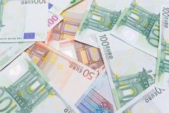 Tło wiele euro i dolary fotografia stock