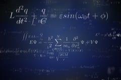 Tło wiele fizyczne formuły i równania ilustracja pozbawione 3 d Fotografia Stock