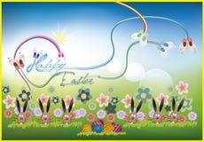 Tło wielkanoc (Szczęśliwy Wielkanocny tekst) Obraz Stock