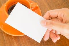 tło wizytówki ręce gospodarstwa pojedynczy white Obrazy Royalty Free