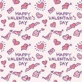 Tło wzór z elementami, sercami, listami miłosnymi i ptakami valentine, ilustracja wektor