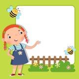 Tło z śliczną dziewczyną ilustracji
