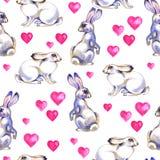 Tło z ślicznymi miłość królikami Akwarela bezszwowy wzór ilustracja wektor