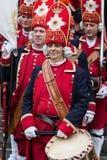 Tło z średniowiecznymi żołnierzami na marszu Zdjęcie Stock