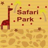 Tło z żyrafą i drzewkiem palmowym Obraz Royalty Free
