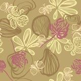 Tło z abstrakcjonistycznym seashells kwiatów i motyli wektorowym bezszwowym wzorem royalty ilustracja