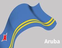 Tło z Aruba falistą flaga Obraz Royalty Free