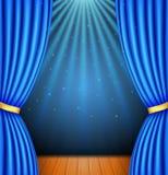 Tło z błękitną zasłoną i światłem reflektorów royalty ilustracja