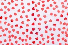 Tło z błyskotliwości serca confetti Walentynki pojęcie T Obraz Stock