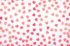 Tło z błyskotliwości serca confetti Walentynki pojęcie T Zdjęcia Royalty Free