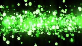 Tło z błyszczącymi zielonymi cząsteczkami Piękny bokeh światła tło Zieleni confetti migocący z magicznym lśnienia światłem ilustracji