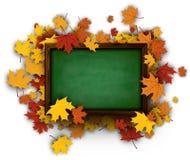 Tło z blackboard i liśćmi klonowymi ilustracji