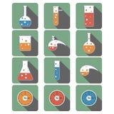 Tło z chemicznymi artykuły ikonami Obrazy Royalty Free