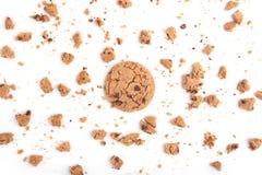 Tło z ciastkami odizolowywającymi na białym tle Odgórny widok Zdjęcie Royalty Free