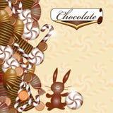 Tło z czekoladowym cukierkiem Zdjęcia Royalty Free