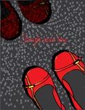 Tło z czerwień butami pstrzył z tekstem i Zdjęcia Stock