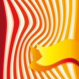 Tło z czerwienią, pomarańcze kolor żółty paskuje i faborek Zdjęcia Royalty Free