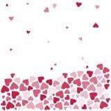 Tło z czerwieni i menchii sercami, spada serca wektor ilustracji