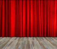 Tło z czerwoną zasłoną i drewnianym podłogowym wewnętrznym tłem royalty ilustracja