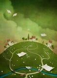 Tło z domami na wzgórzu. royalty ilustracja