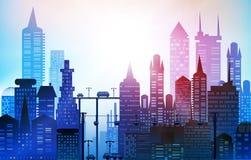 Tło z drogami, mostami i samochodami, Nowożytni drapacze chmur duży miasto Tło z drogami, mostami i samochodami, royalty ilustracja
