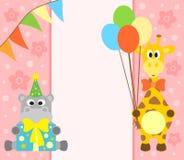 Tło z hipopotamem i żyrafą Zdjęcie Royalty Free