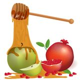 Tło z jabłczanym miodem i granatowem Shana Tova jewishness royalty ilustracja