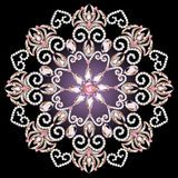 Tło z kółkowym ornamentem z różowymi klejnotami Fotografia Royalty Free