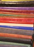 Tło z kawałkami Włoskie rzemienne garbarnie Obraz Stock