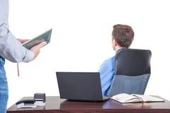 Tło z kierownikiem w biurze na najwyższe piętro budynku, Zdjęcia Stock