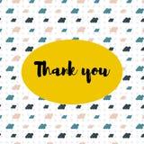 Tło z kolorową kreskówką chmurnieje i słowa dziękują was ilustracja wektor