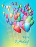 Tło z kolorowymi balonami w niebie, ilustracja 2007 pozdrowienia karty szczęśliwych nowego roku royalty ilustracja