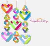 Tło z koloru origami papieru sercami ilustracja wektor