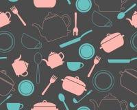 Tło z kuchennymi naczyniami ilustracji