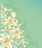 Tło z kwiatami i motylami Zdjęcie Stock