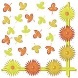 Tło z liśćmi i kwiatami Obrazy Stock