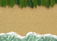 Tło z linią woda morska z drzewkami palmowymi i piaskiem Fotografia Royalty Free