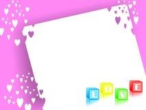 Tło z listową miłością w pudełku Obraz Stock