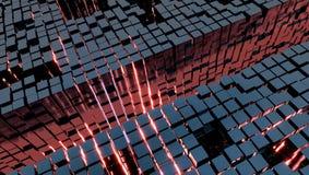 Tło z metali sześcianami i czerwonym światłem, 3d ilustracja zdjęcia stock