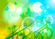 Tło z motylami, kwiatami i bokeh. ilustracja wektor