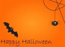 Tło z nietoperzem i pająk dla Halloween Bawimy się noc Zdjęcie Royalty Free