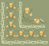 Tło z ornamentami żółci irysy Obrazy Stock