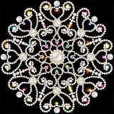 Tło z płatkami śniegu robić cenni kamienie i perły Zdjęcia Royalty Free