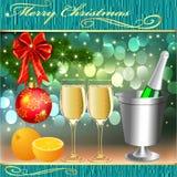 Tło z piłkami i szkłami szampan z pomarańcze Obrazy Stock