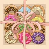 Tło z prezenta pudełkiem donuts ilustracji